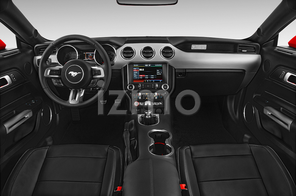 Stock photo of a straight dashboard view of a 2015 Ford Mustang GT Premium 2 Door Coupe