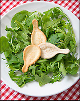 BNPS.co.uk (01202 558833)<br /> Pic: RachelAdams/BNPS<br /> <br /> The perfect invention for mid summer picnic's - The edible spoon that is a tasty treat as well as saving on the washing up.<br /> <br /> Prudent pensioner Roy Webb(77) came up with the novel idea after eating canapes served on small spoons at a party.<br /> <br /> He set about designing an edible product that could hold many picnic favourites, such as tomatoes, houmous, and strawberries.<br /> <br /> He made a spoon shaped cutter and used it to punch out a spoon shape from thick bread, pastry or pizza base.<br /> <br /> The shapes are then placed onto metal spoon moulds and baked in the oven for 15 to 20 minutes until they were golden brown.<br /> <br /> The kits are now flying of the internet from Roys new website at ediblespoons.co.uk.