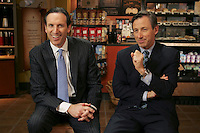 Howard Schultz, left, Chairman and Chief Global Strategist and Jim Donald, President North America, of Starbucks Coffee Company share a laugh at the Company Headquarters in Seattle, WA. Photo by Kevin P. Casey/Bloomberg News