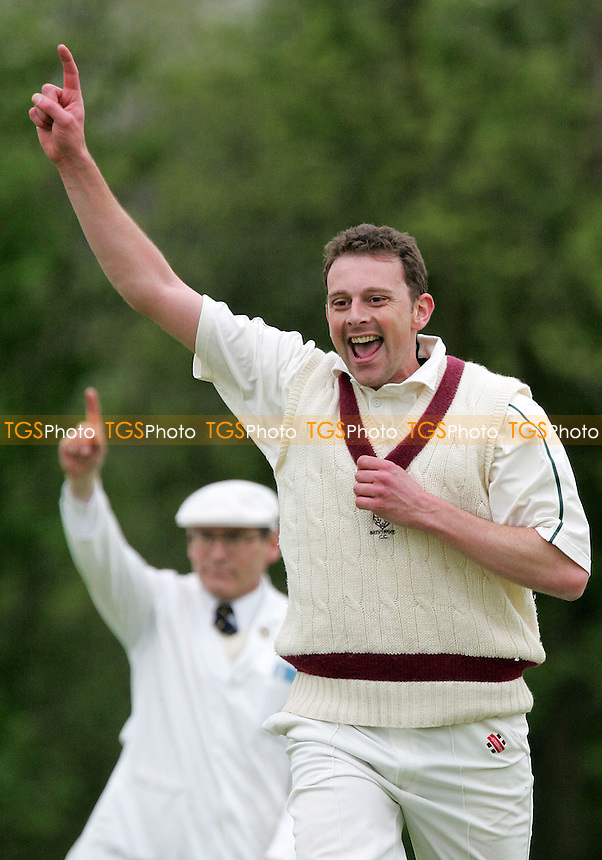 Brentwood's Richard Whitehall celebrates the wicket of Rizwan Akram - South Woodford CC vs Brentwood CC - Shepherd Neame Essex League Cup - 06/05/06 - (Gavin Ellis 2006)