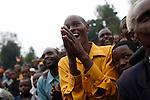 © Remi OCHLIK/IP3, Jambo, Republique Democratique du Congo, le 29 novembre 2008 - Paroisse de Jambo, le chef de la rebellion CNDP recoit l'ancien president du Nigeria, et de la Tanzanie pour poursuivre les negociations avec le pouvoir central de Kinshasa. A cette occasion, Laurent Nkunda organise un meeting...Around the church of a little town near Rutshuru, Laurent Nkunda organizes a meeting, before receiving former presidents of Nigeria and Tanzania to negociate the peace process. Former president Obasango reports that RDC president Joseph Kaliba would be ready to negociate in neutral field as Nairobi...