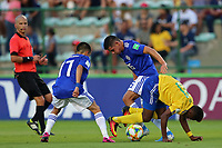 31st October 2019; Bezerrao Stadium, Brasilia, Distrito Federal, Brazil; FIFA U-17 World Cup Brazil 2019, Solomon Islands versus Paraguay; Raphael Leai of Solomon Islands and Fabio Barrios and Matias Segovia of Paraguay - Editorial Use