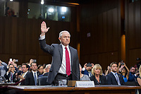 "United States Attorney General Jeff Sessions is sworn-in to testify before the US Senate Select Committee on Intelligence to  ""examine certain intelligence matters relating to the 2016 United States election"" on Capitol Hill in Washington, DC on Tuesday, June 13, 2017.  In his prepared statement Attorney General Sessions said it was an ""appalling and detestable lie"" to accuse him of colluding with the Russians. Photo Credit: Ron Sachs/CNP/AdMedia"