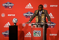 Amobi Okugo of UCLA speaks to the crowds after being the sixth overall pick of  the MLS Superdraft by the Philadephia Union at the Pennsylvania Convention Center in Philadelphia, PA.
