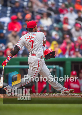 28 April 2016: Philadelphia Phillies third baseman Maikel Franco swings so hard as to losing his batting helmet during a game against the Washington Nationals at Nationals Park in Washington, DC. The Phillies shut out the Nationals 3-0 to sweep their mid-week, 3-game series. Mandatory Credit: Ed Wolfstein Photo *** RAW (NEF) Image File Available ***