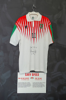 Garry Speeds' 1996/98 Wales away shirt is displayed at The Art of the Wales Shirt Exhibition at St Fagans National Museum of History in Cardiff, Wales, UK. Monday 11 November 2019