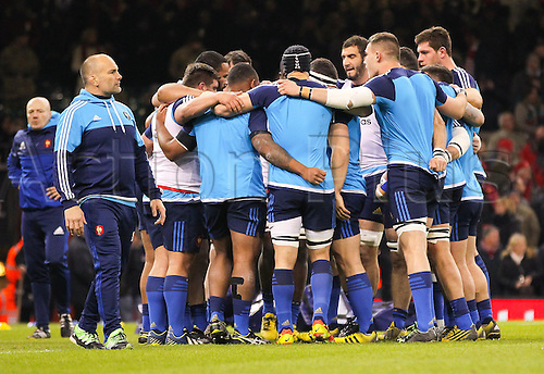 26.02.2016. Principality Stadium, Cardiff, Wales. RBS Six Nations Championships. Wales versus France. The French team huddle before the match