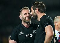 Kieran Read and Sam Whitelock share a laugh after the Bledisloe Cup and Rugby Championship rugby match between the New Zealand All Blacks and Australia Wallabies at Eden Park in Auckland, New Zealand on Saturday, 25 August 2018. Photo: Simon Watts / lintottphoto.co.nz