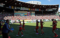 Portland, Oregon - Sunday September 4, 2016: The Thorns supporters tifo during a regular season National Women's Soccer League (NWSL) match at Providence Park.