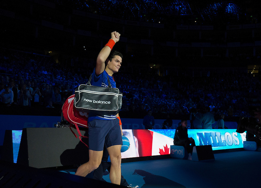 Milos Raonic of Canada enters the arena to play against Dominic Thiem of Austria in their Group Ivan Lendl match today<br /> <br /> Photographer Craig Mercer/CameraSport<br /> <br /> International Tennis - Barclays ATP World Tour Finals - Day 5 - Thursday 17th November 2016 - O2 Arena - London<br /> <br /> World Copyright &copy; 2016 CameraSport. All rights reserved. 43 Linden Ave. Countesthorpe. Leicester. England. LE8 5PG - Tel: +44 (0) 116 277 4147 - admin@camerasport.com - www.camerasport.com