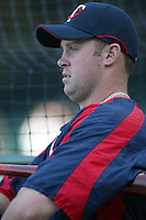 Michael Cuddyer of the Minnesota Twins during batting practice before a 2007 MLB season game against the Los Angeles Angels at Angel Stadium in Anaheim, California. (Larry Goren/Four Seam Images)