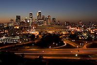 Minneapolis MN skyline at sunset
