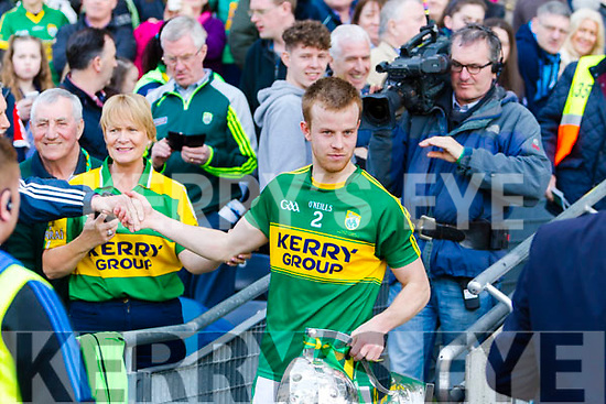 Kerry captain Fionn Fitzgerald lifts the cup after defeating Dublin at the National League Final in Croke Park on Sunday.