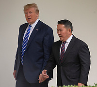 United States President Donald J. Trump, left, and President Khaltmaa Battulga of Mongolia, right, walk on the colonnade of the White House to the Oval Office  in Washington, DC on Wednesday, July 31, 2019. Photo Credit: Ron Sachs/CNP/AdMedia