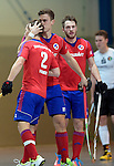 GER - Mannheim, Germany, November 28: During the 1. Bundesliga Sued Herren indoor hockey match between Mannheimer HC (red) and TG Frankenthal (white) on November 28, 2015 at Irma-Roechling-Halle in Mannheim, Germany. Final score 7-7 (HT 3-3). (Photo by Dirk Markgraf / www.265-images.com) *** Local caption *** (L-R) Jan Philipp Fischer #2 of Mannheimer HC, Timm Haase #27 of Mannheimer HC, Maximilian Neumann #24 of Mannheimer HC