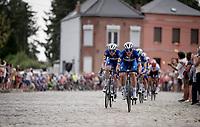 Yves Lampaert (BEL/Deceuninck - Quick-Step) over the cobbles<br /> <br /> Stage 1: Brussels to Brussels(BEL/192km) 106th Tour de France 2019 (2.UWT)<br /> <br /> ©kramon