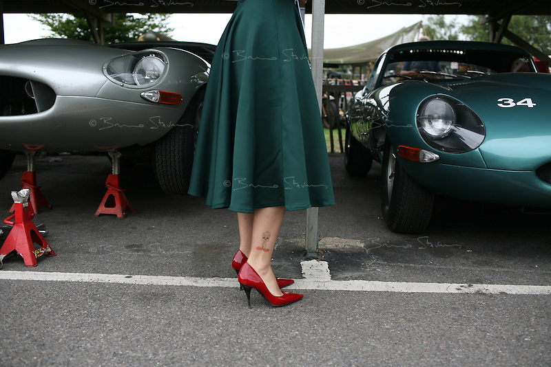 Goodwood Revival, 2007.Paddock elegance. The Goodwood revival is one of the largest historic car races events in the world; 3 days of racing at the highest level with some of the best pilots past and present driving historically important cars to the limit...and sometimes beyond! 110 000 spectators and participants gather in period costumes for a unique event.