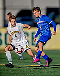 26 October 2019: University of Massachusetts Lowell River Hawk Forward Renato Kauzlaric, a Sophomore from Zagreb, Croatia, battles University of Vermont Catamount Defender Garrett Lillie, a Sophomore from York, Maine, at Virtue Field in Burlington, Vermont. The Catamounts rallied to defeat the River Hawks 2-1, propelling the Cats to the America East Division 1 conference playoffs. Mandatory Credit: Ed Wolfstein Photo *** RAW (NEF) Image File Available ***