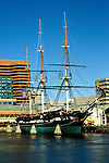 Maryland: Baltimore.  Historic ship USS Constellation in Inner Harbor.  Photo #: mdbalt102..Photo copyright Lee Foster, www.fostertravel.com, 510/549-2202, lee@fostertravel.com