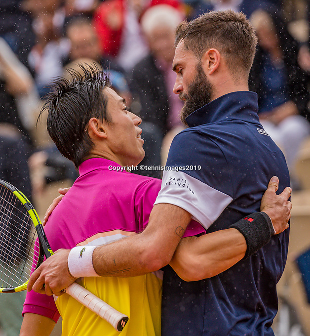 Paris, France, 3 june, 2019, Tennis, French Open, Roland Garros, Kei Nishikori (JPN) (L) is congratulated by Benoit Paire (FRA) with his win<br /> Photo: Henk Koster/tennisimages.com