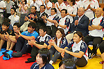 (L to R) Tatsuhiro Yonemitsu, Saori Yoshida,Kaori Icho, SEPTEMBER 9, 2013 - Wrestling : Japanese Wrestling team watched presentation for an additional game determination of the Olympic Summer Games 2020  at Ajinomoto Traning center, Tokyo, Japan. (Photo by Yusuke Nakanishi/AFLO SPORT)