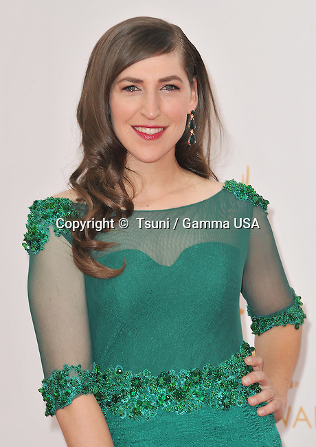 Mayim Bialik  arriving at the 65th Primetime Emmy Awards at the Nokia Theatre in Los Angeles.