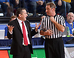 BROOKINGS, SD - MARCH 30:  Head coach Curt Miller from Indiana University discuss his recent technical foul with an official in the first half of their WNIT quarterfinal game against South Dakota State University Sunday afternoon at Frost Arena in Brookings. (Photo by Dave Eggen/Inertia)