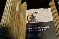 Exterior of the British Museum. Shunga: sex and pleasure in Japanese art, The British Museum, London, UK, October 29, 2013.