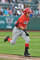 Keinner Pina (15) of the Orem Owlz hustles down the first base line against the Ogden Raptors in Pioneer League action at Lindquist Field on September 9, 2016 in Ogden, Utah. This was Game 1 of the Southern Division playoff. Orem defeated Ogden 6-5. (Stephen Smith/Four Seam Images)