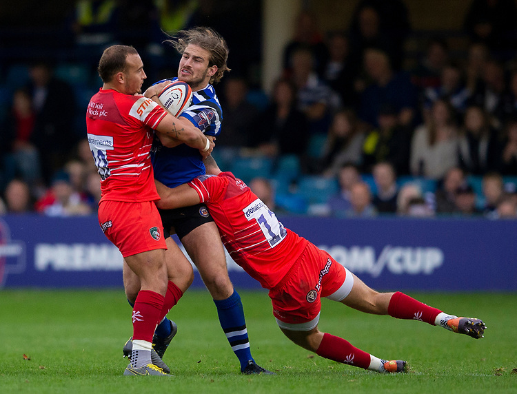 Bath Rugby's Max Clark in action during todays match<br /> <br /> Photographer Bob Bradford/CameraSport<br /> <br /> Premiership Rugby Cup Round Three - Bath Rugby v Leicester Tigers - Saturday 5th October 2019 - The Recreation Ground - Bath<br /> <br /> World Copyright © 2018 CameraSport. All rights reserved. 43 Linden Ave. Countesthorpe. Leicester. England. LE8 5PG - Tel: +44 (0) 116 277 4147 - admin@camerasport.com - www.camerasport.com