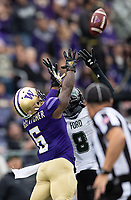 Chico McClatcher and Hawaii defensive back Eugene Ford battle for a jump ball. It would fall incomplete.