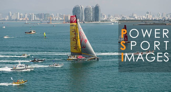 Abu Dhabi Ocean Racing heading toward the finish line of the Volvo Ocean Race Leg 3 Abu Dhabi-Sanya on January 27, 2015 in Sanya, China. The Volvo Ocean Race 2014-15 is the 12th running of this ocean marathon. Starting from Alicante in Spain on October 11, 2014, the route, spanning some 39,379 nautical miles, visits 11 ports in 11 countries (Spain, South Africa, United Arab Emirates, China, New Zealand, Brazil, United States, Portugal, France, the Netherlands and Sweden) over nine months. The Volvo Ocean Race is the world's premier ocean race for professional racing crews. Photo by Victor Fraile / Power Sport Images
