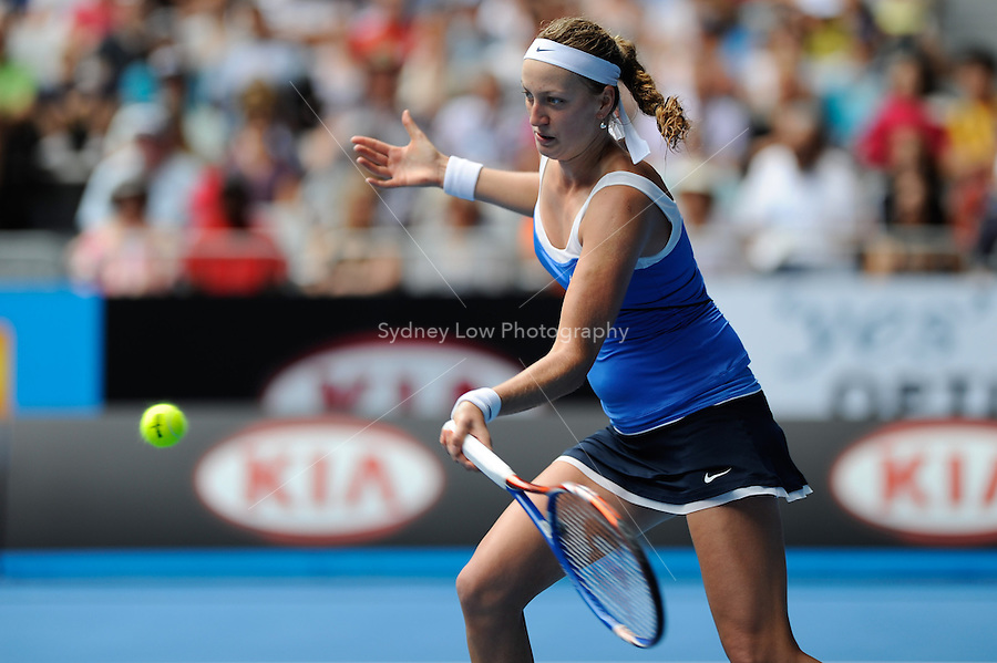MELBOURNE, 24 JANUARY - Petra Kvitova (CZE) in action during her fourth round match against Flavia Pennetta (ITA) on day eight of the 2011 Australian Open at Melbourne Park, Australia. (Photo Sydney Low / syd-low.com)