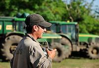URUGUAY Bella Union, man drinks Mate tea at farm