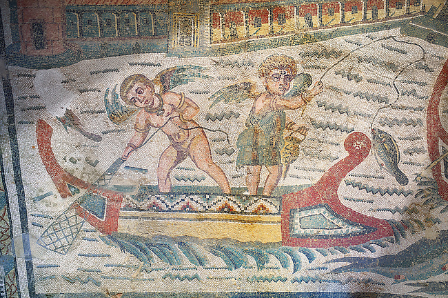Close up detail picture of the Roman mosaics of the Semi Circular Room, depicting cupids fishing from boats, at the Villa Romana del Casale, first quarter of the 4th century AD. Sicily, Italy. A UNESCO World Heritage Site.