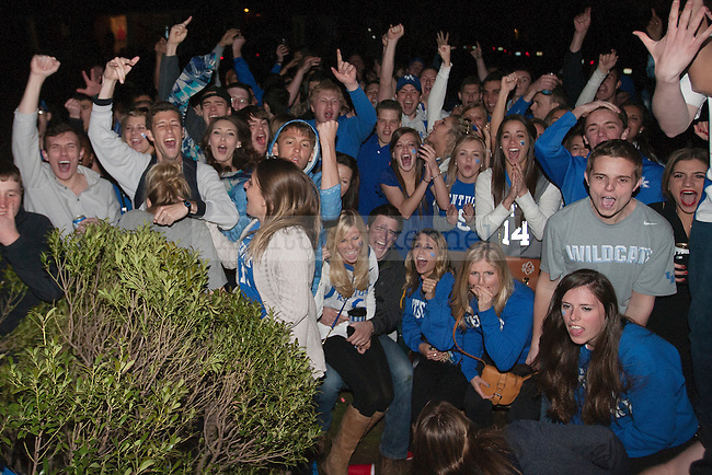 UK fans celebrate Aaron Harrison's game winning shot to be Wisconsin in the Final Four in Lexington , Ky.,on Saturday, April 5, 2014. Photo by Michael Reaves | Staff