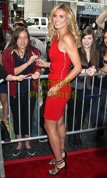 "Heidi Klum.""America's Got Talent"" Los Angeles Auditions held at the Pantages Theatre, Los Angeles, California, USA..April 24th, 2013.full length dress red one shoulder side fans crowd signing autographs zip zipper  black sandals shoes .CAP/ADM/RE.©Russ Elliot/AdMedia/Capital Pictures."