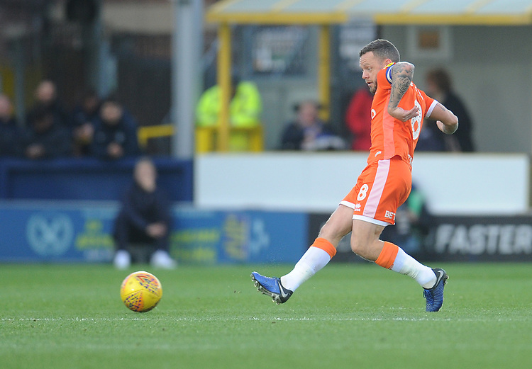 Blackpool's Jay Spearing<br /> <br /> Photographer Kevin Barnes/CameraSport<br /> <br /> The EFL Sky Bet League One - AFC Wimbledon v Blackpool - Saturday 29th December 2018 - Kingsmeadow Stadium - London<br /> <br /> World Copyright © 2018 CameraSport. All rights reserved. 43 Linden Ave. Countesthorpe. Leicester. England. LE8 5PG - Tel: +44 (0) 116 277 4147 - admin@camerasport.com - www.camerasport.com