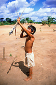 Ipixuna village, Amazon, Brazil. Arawete boy with bow and arrow.