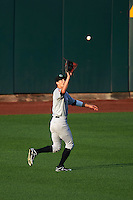 Kane County Cougars outfielder Colin Bray (8) catches a fly ball during a game against the Cedar Rapids Kernels on August 18, 2015 at Perfect Game Field in Cedar Rapids, Iowa.  Kane County defeated Cedar Rapids 1-0.  (Mike Janes/Four Seam Images)