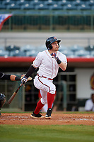 Florida Fire Frogs Riley Unroe (7) at bat during a Florida State League game against the Jupiter Hammerheads on April 8, 2019 at Osceola County Stadium in Kissimmee, Florida.  Florida defeated Jupiter 7-6 in ten innings.  (Mike Janes/Four Seam Images)