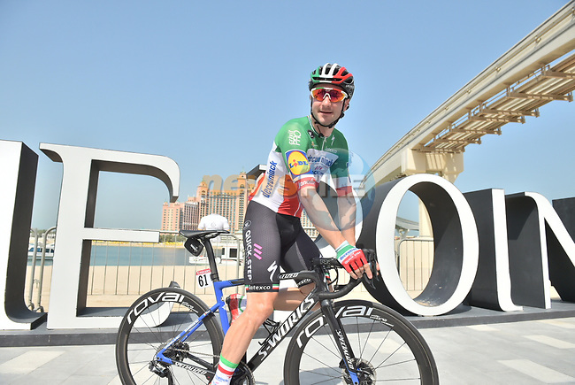 Italian National Champion Elia Viviani (ITA) Deceuninck-Quick Step before the start of Stage 4 of the 2019 UAE Tour, running 197km form The Pointe Palm Jumeirah to Hatta Dam, Dubai, United Arab Emirates. 26th February 2019.<br /> Picture: LaPresse/Massimo Paolone | Cyclefile<br /> <br /> <br /> All photos usage must carry mandatory copyright credit (© Cyclefile | LaPresse/Massimo Paolone)