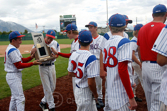 Chris Detrick  |  The Salt Lake Tribune.Members of the Panguitch baseball team celebrate after winning the 1A baseball championships at Brent Brown Ballpark at Utah Valley University Tuesday October 11, 2011.  Panguitch defeated Wayne 10-1.