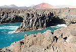 Caves and blow holes rocky coastline Los Hervideros, Lanzarote, Canary Islands, Spain