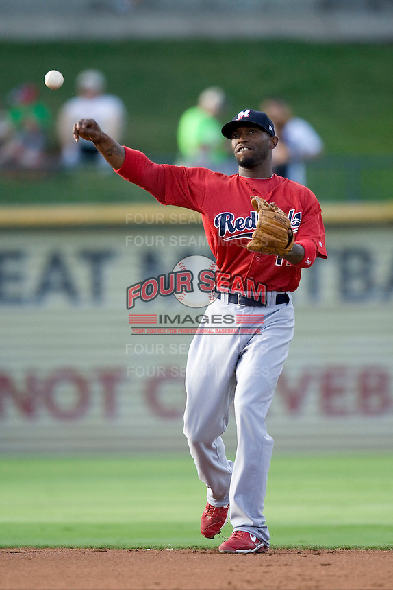 Memphis Redbirds second baseman Freddy Bynum #11 throws the ball to first against the Round Rock Express at the Dell Diamond on July 10, 2011 in Round Rock, Texas.  Memphis defeated Round Rock 10-9.  (Andrew Woolley / Four Seam Images)