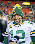 Green Bay Packers quarterback Aaron Rodgers (12) is all smiles as he prepares to be interviewed following his team's 35 - 18 victory over Washington Redskins in an NFC Wild Card game at FedEx Field in Landover, Maryland on Sunday, January 10, 2016. <br /> Credit: Ron Sachs / CNP