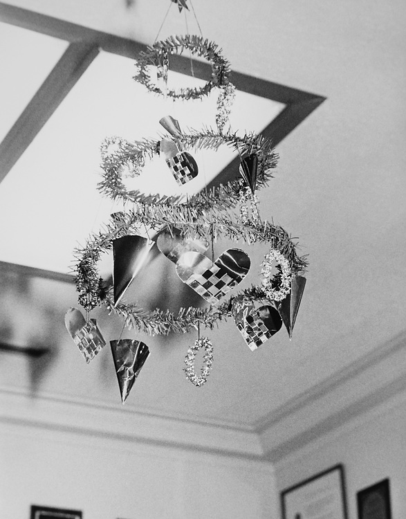 Decorated chandelier during Christmas contest in 1983. (Photo by CQ Roll Call via Getty Images)