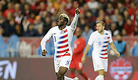 TORONTO, ON - OCTOBER 15: Gyasi Zardes #9 of the United States asking for the ball during a game between Canada and USMNT at BMO Field on October 15, 2019 in Toronto, Canada.