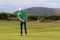 Mark Power from Ireland on the 18th green during Round 3 Singles of the Men's Home Internationals 2018 at Conwy Golf Club, Conwy, Wales on Friday 14th September 2018.<br /> Picture: Thos Caffrey / Golffile<br /> <br /> All photo usage must carry mandatory copyright credit (&copy; Golffile | Thos Caffrey)