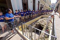 Havana, Cuba. La Habana Vieja (Old Habana). A group of American students visiting excavations.